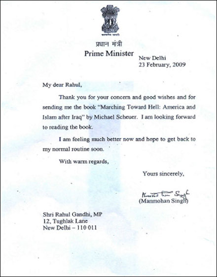 Dear Rahul Yours Sincerely Manmohan Singh Indian Express