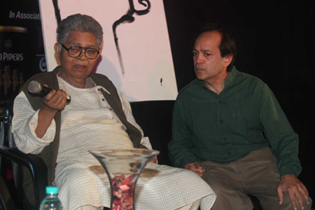 Bengali poet and  novelist Sunil Gangopadhyay along with novelist Vikram Seth during the inaugural day of the Kolkata Literary Meet in early Feb